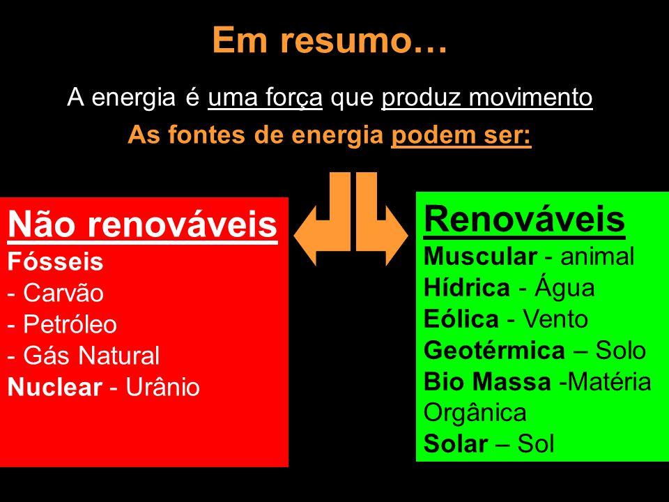 As fontes de energia podem ser: