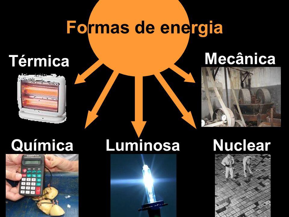 Formas de energia Mecânica Térmica Química Luminosa Nuclear