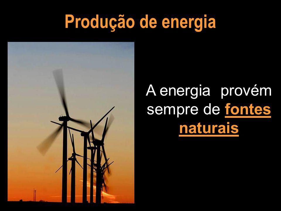A energia provém sempre de fontes naturais
