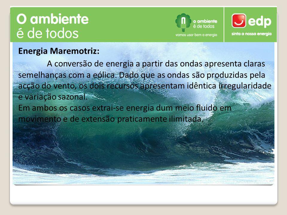 Energia Maremotriz: A conversão de energia a partir das ondas apresenta claras semelhanças com a eólica.