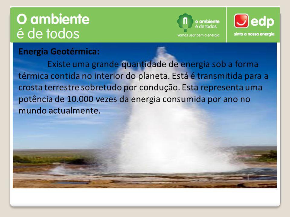 Energia Geotérmica: Existe uma grande quantidade de energia sob a forma térmica contida no interior do planeta.