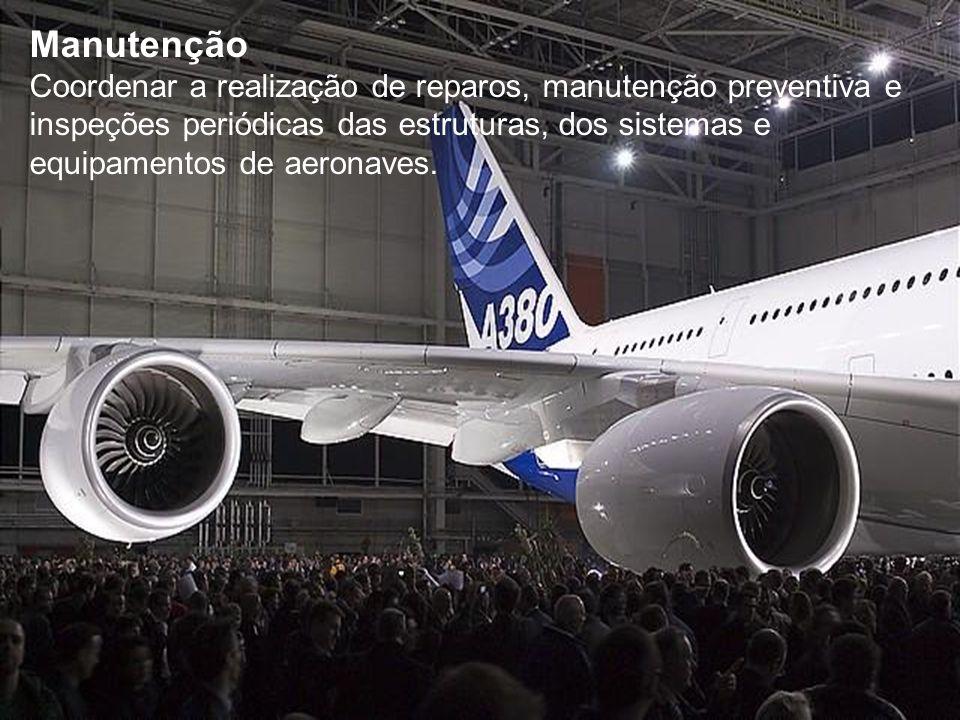 Manutenção Coordenar a realização de reparos, manutenção preventiva e inspeções periódicas das estruturas, dos sistemas e equipamentos de aeronaves.
