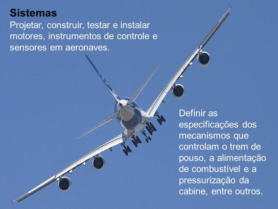 Sistemas Projetar, construir, testar e instalar motores, instrumentos de controle e sensores em aeronaves.