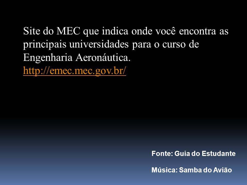 Site do MEC que indica onde você encontra as principais universidades para o curso de Engenharia Aeronáutica.