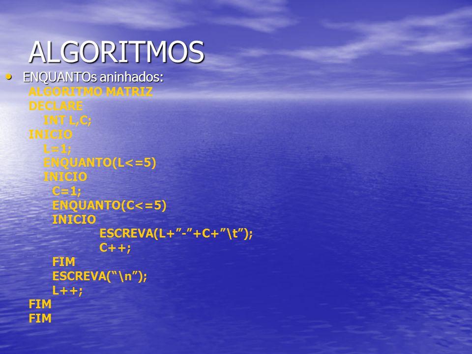 ALGORITMOS ENQUANTOs aninhados: ALGORITMO MATRIZ DECLARE INT L,C;