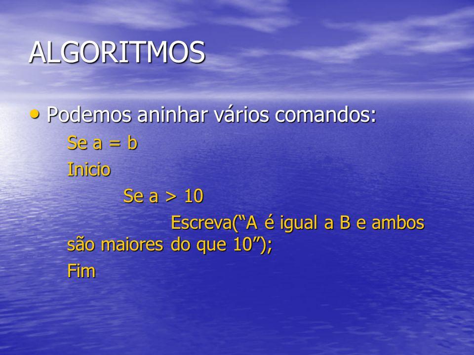 ALGORITMOS Podemos aninhar vários comandos: Se a = b Inicio