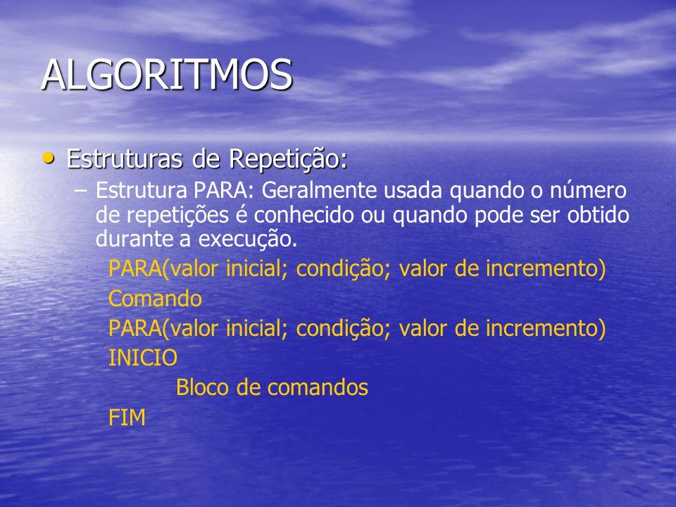 ALGORITMOS Estruturas de Repetição: