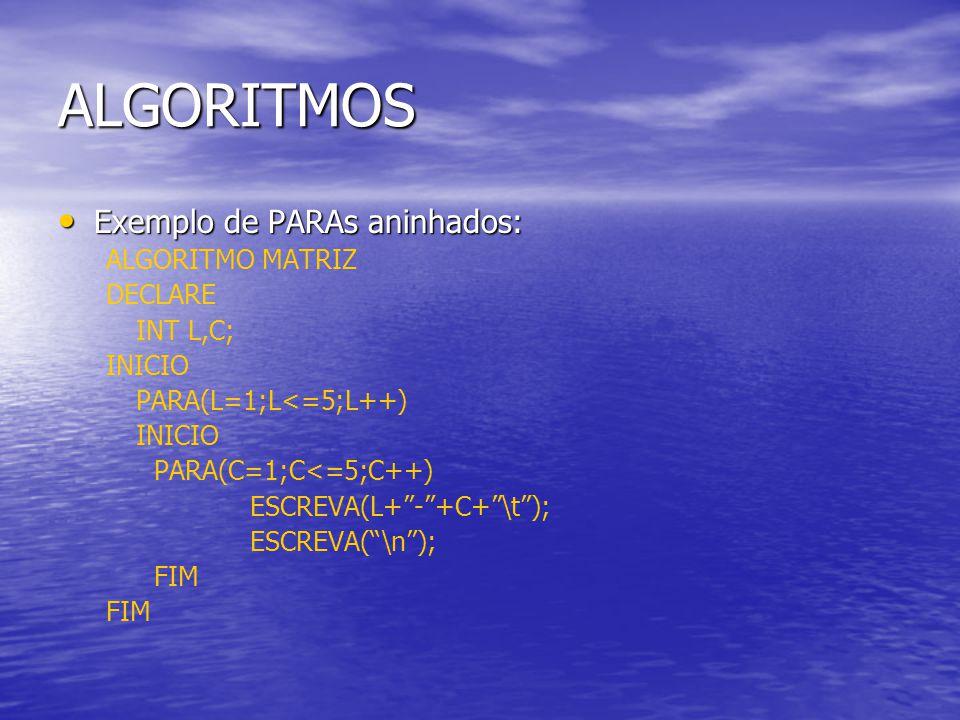 ALGORITMOS Exemplo de PARAs aninhados: ALGORITMO MATRIZ DECLARE