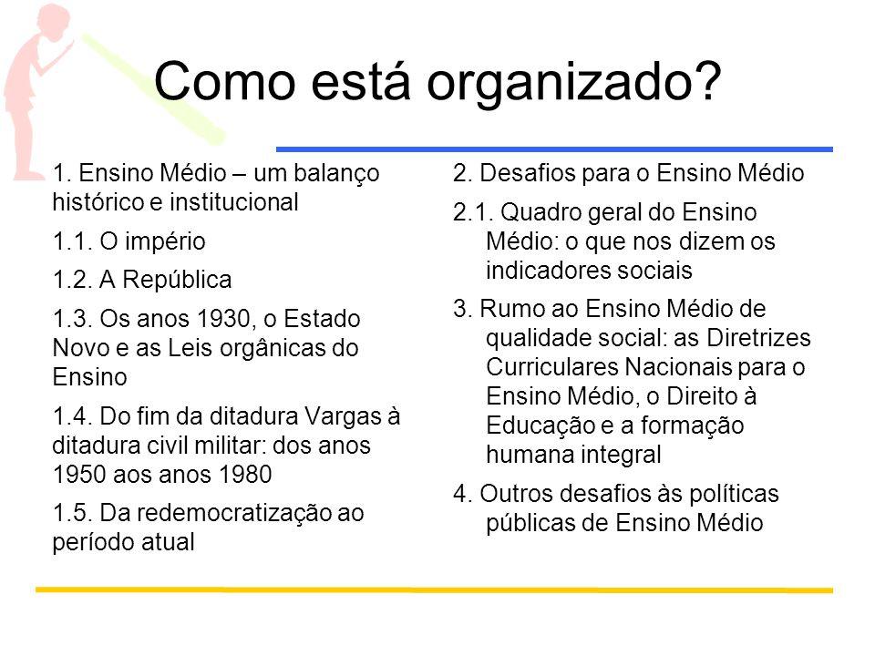Como está organizado 1. Ensino Médio – um balanço histórico e institucional. 1.1. O império. 1.2. A República.