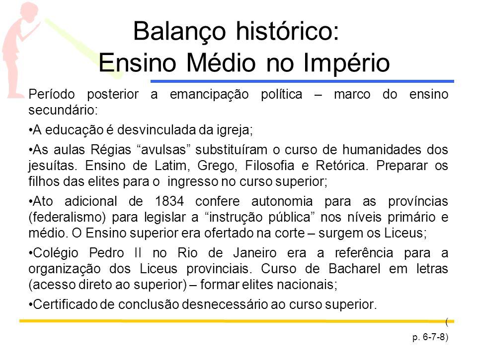 Balanço histórico: Ensino Médio no Império