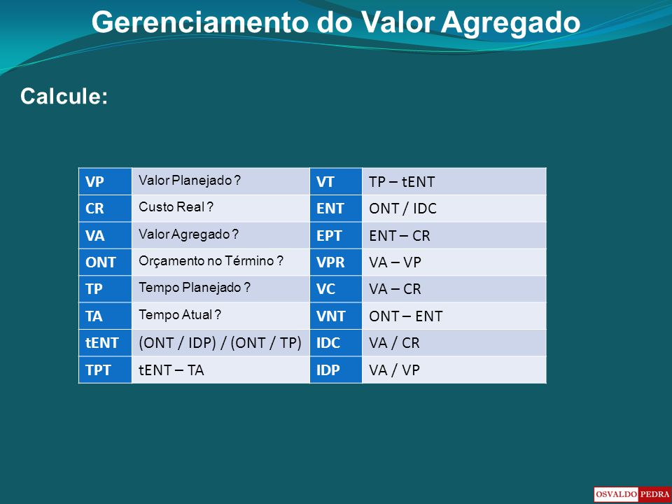 Calcule: VP VT TP – tENT CR ENT ONT / IDC VA EPT ENT – CR ONT VPR