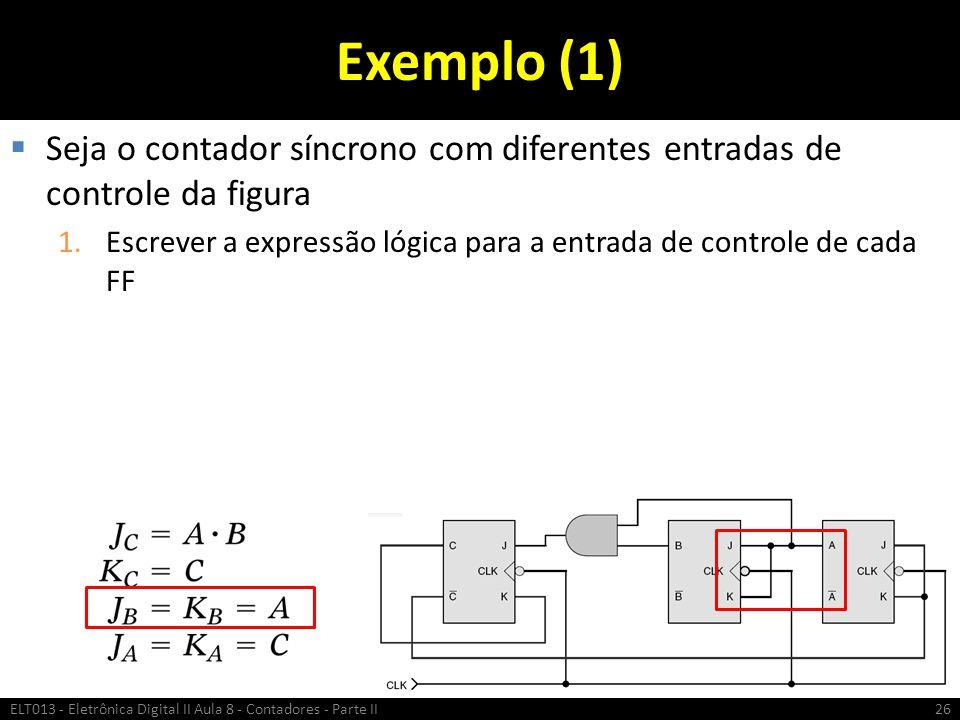 Exemplo (1) Seja o contador síncrono com diferentes entradas de controle da figura.