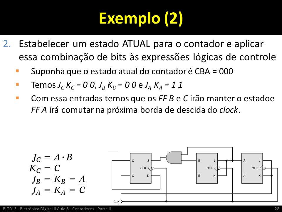 Exemplo (2) Estabelecer um estado ATUAL para o contador e aplicar essa combinação de bits às expressões lógicas de controle.