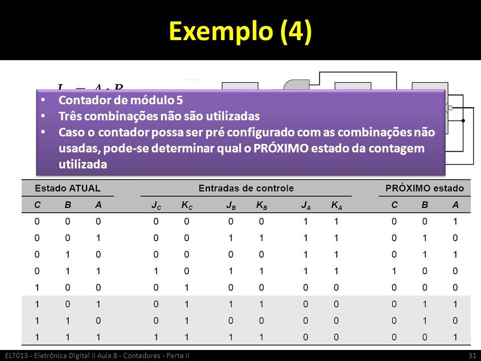 Exemplo (4) Contador de módulo 5 Três combinações não são utilizadas