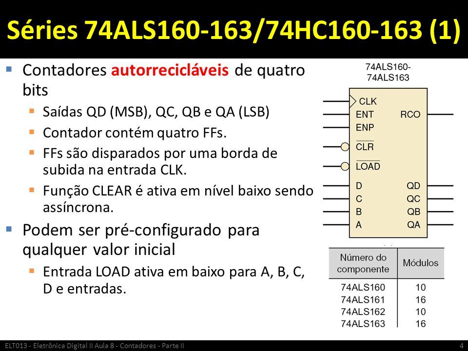 Séries 74ALS160-163/74HC160-163 (1) Contadores autorrecicláveis de quatro bits. Saídas QD (MSB), QC, QB e QA (LSB)