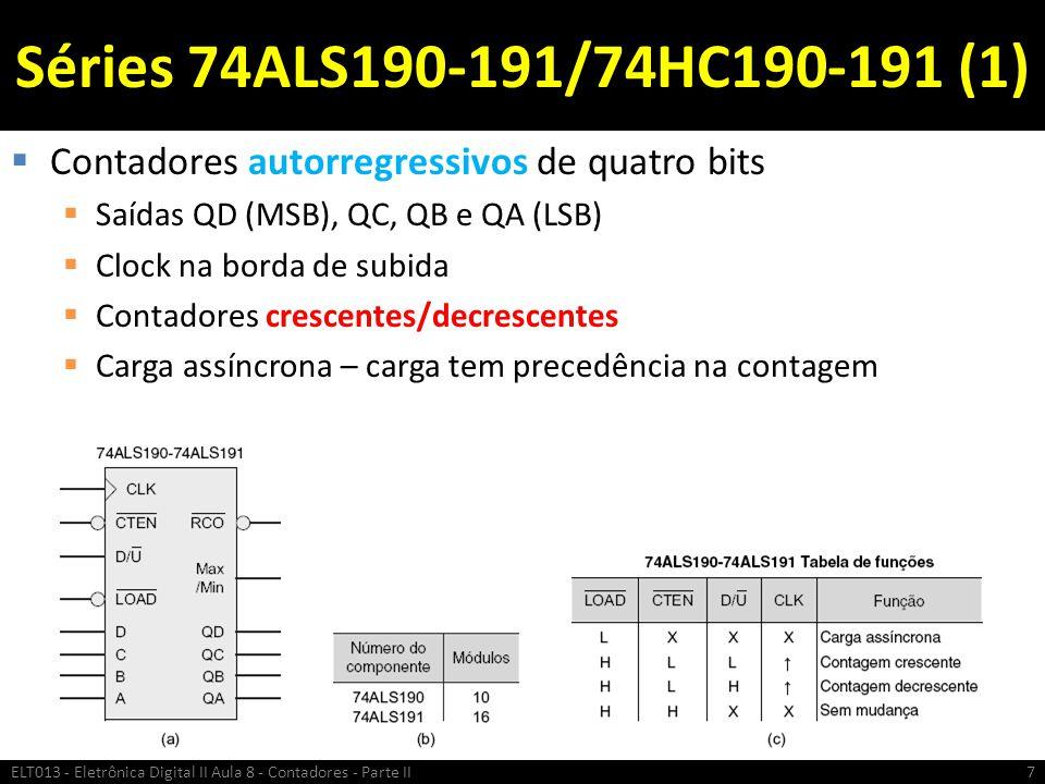 Séries 74ALS190-191/74HC190-191 (1) Contadores autorregressivos de quatro bits. Saídas QD (MSB), QC, QB e QA (LSB)