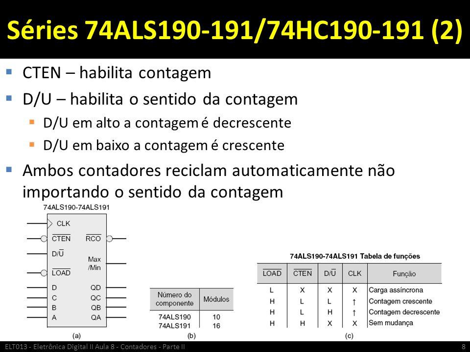 Séries 74ALS190-191/74HC190-191 (2) CTEN – habilita contagem