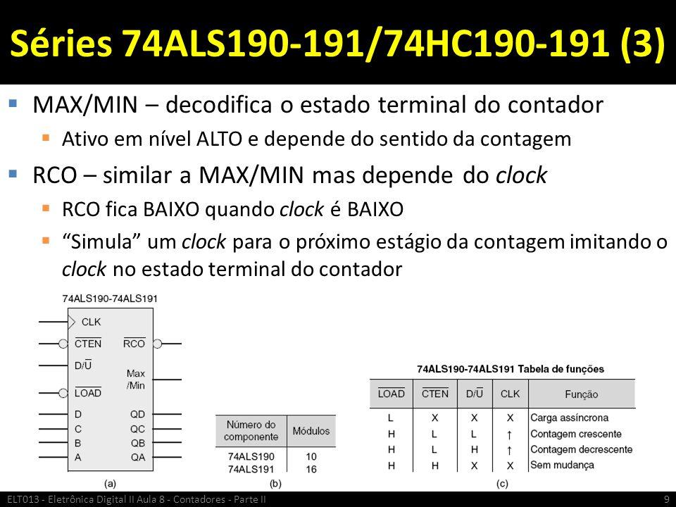Séries 74ALS190-191/74HC190-191 (3) MAX/MIN – decodifica o estado terminal do contador. Ativo em nível ALTO e depende do sentido da contagem.