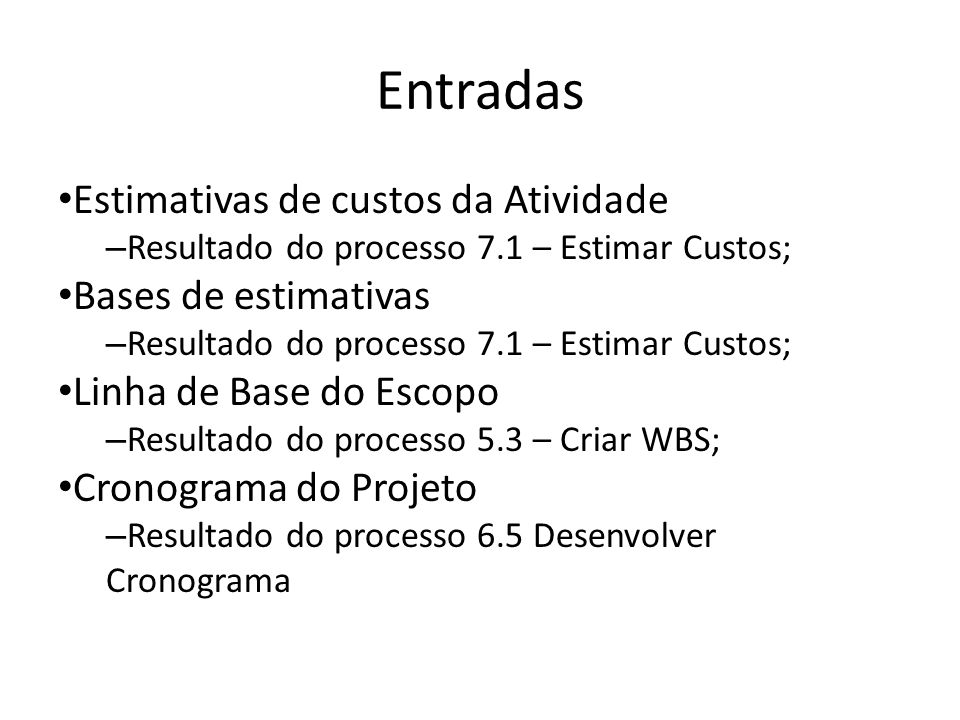 Entradas Estimativas de custos da Atividade Bases de estimativas