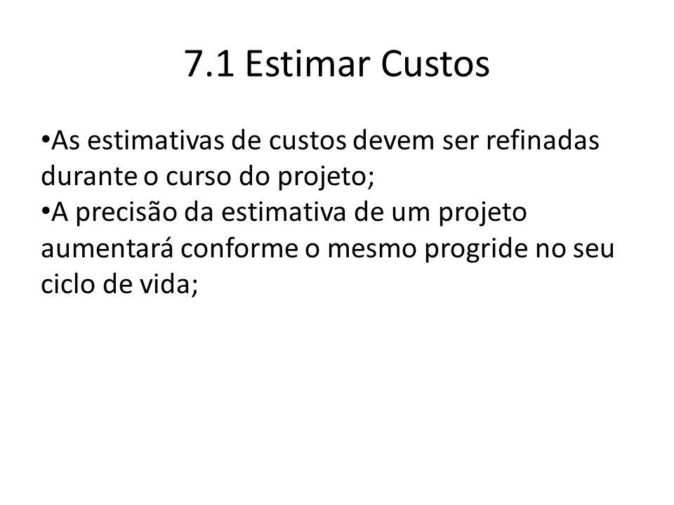 7.1 Estimar Custos As estimativas de custos devem ser refinadas durante o curso do projeto;