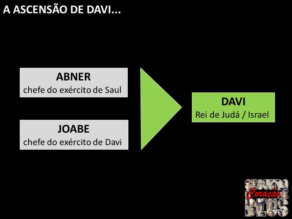 A ASCENSÃO DE DAVI... ABNER DAVI JOABE chefe do exército de Saul