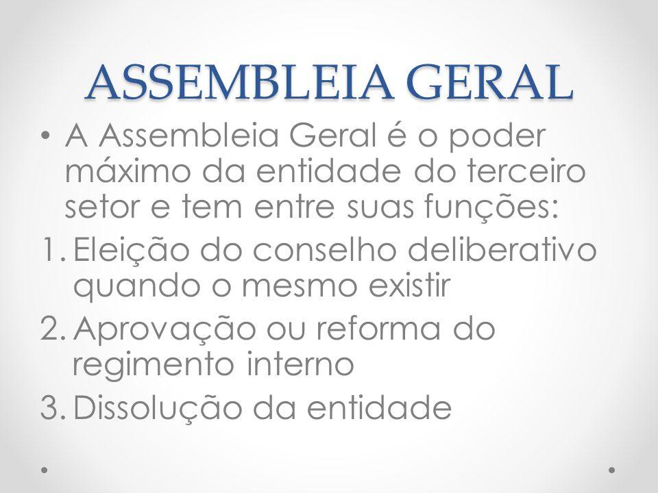 ASSEMBLEIA GERAL A Assembleia Geral é o poder máximo da entidade do terceiro setor e tem entre suas funções:
