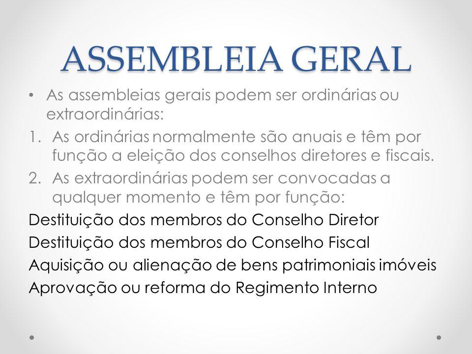 ASSEMBLEIA GERAL As assembleias gerais podem ser ordinárias ou extraordinárias:
