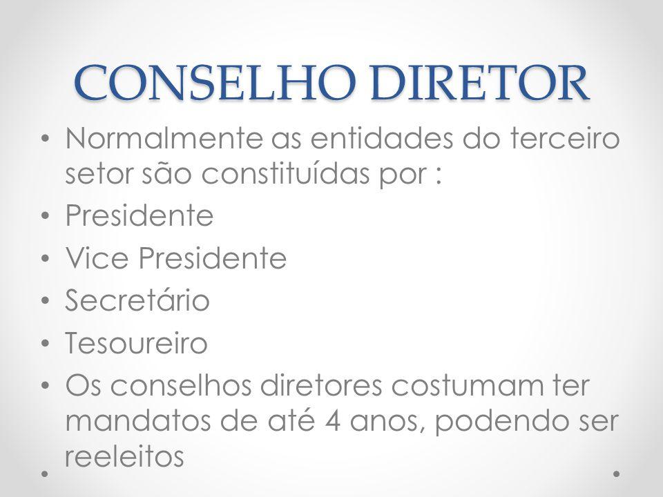 CONSELHO DIRETOR Normalmente as entidades do terceiro setor são constituídas por : Presidente. Vice Presidente.