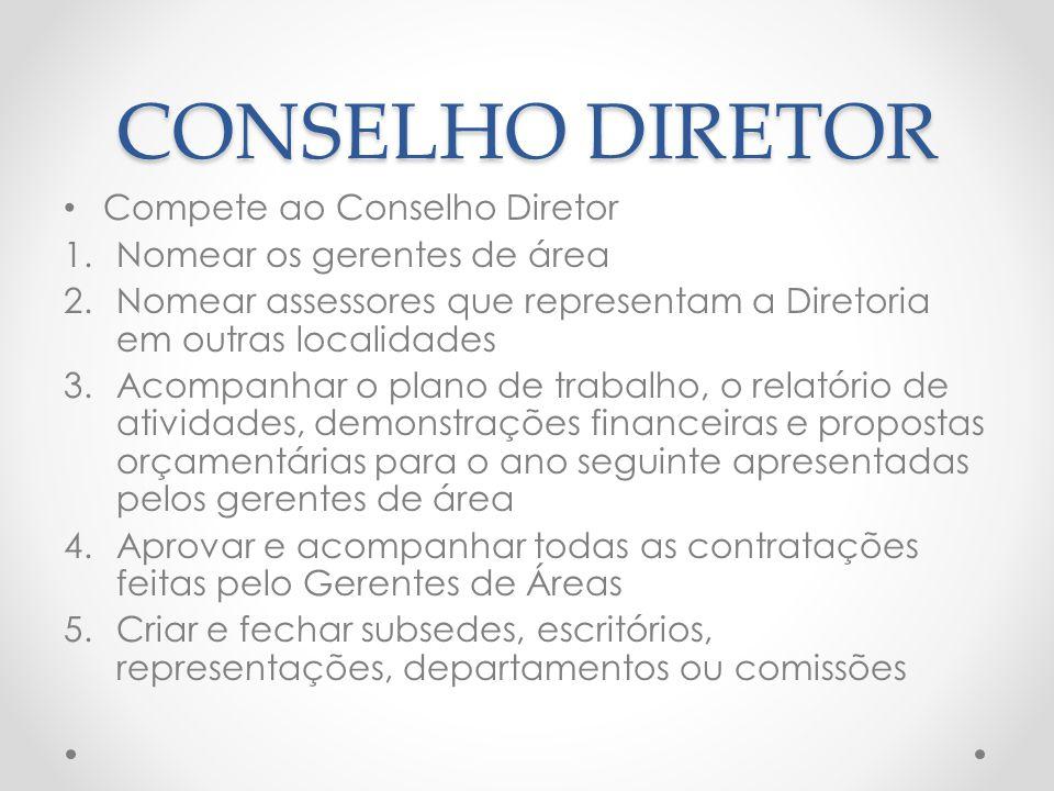 CONSELHO DIRETOR Compete ao Conselho Diretor