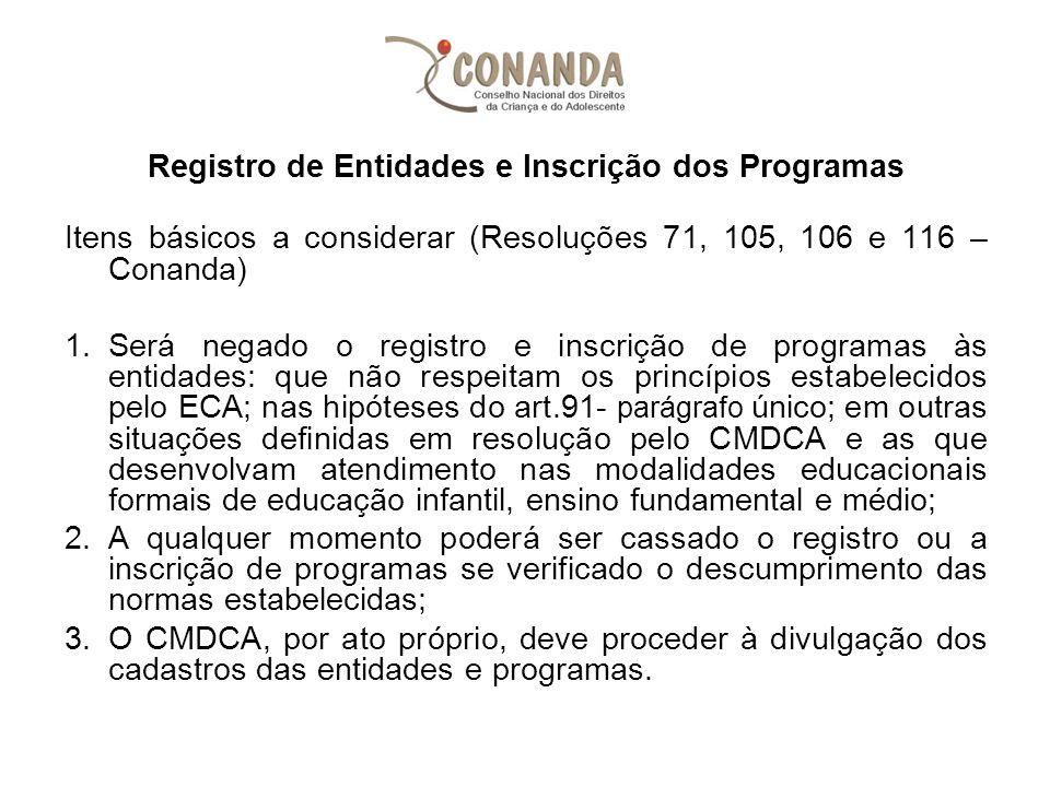 Registro de Entidades e Inscrição dos Programas