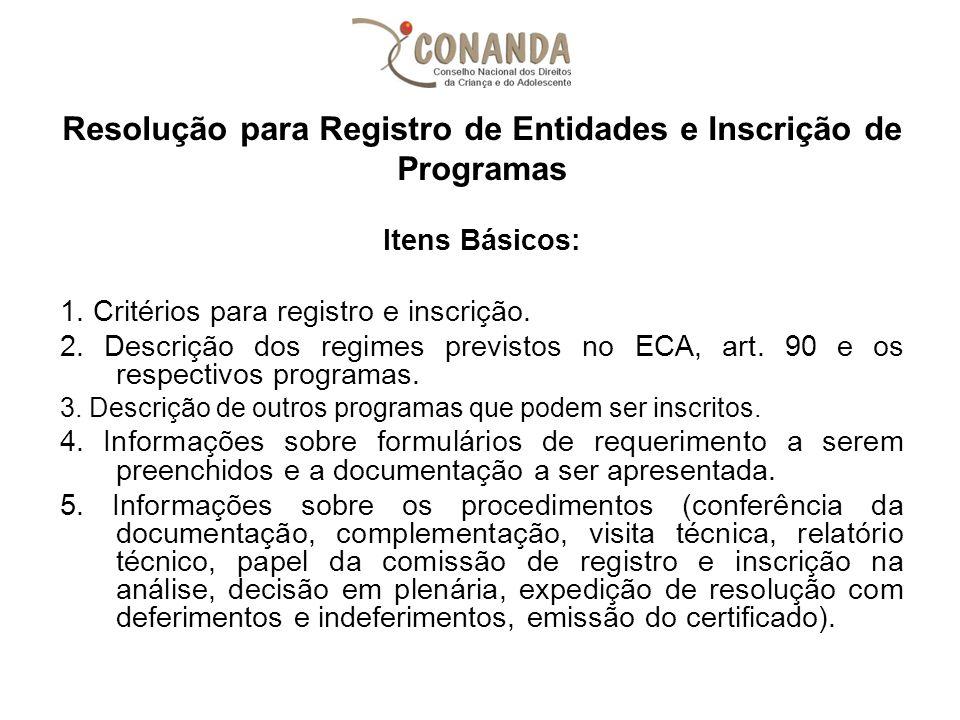 Resolução para Registro de Entidades e Inscrição de Programas