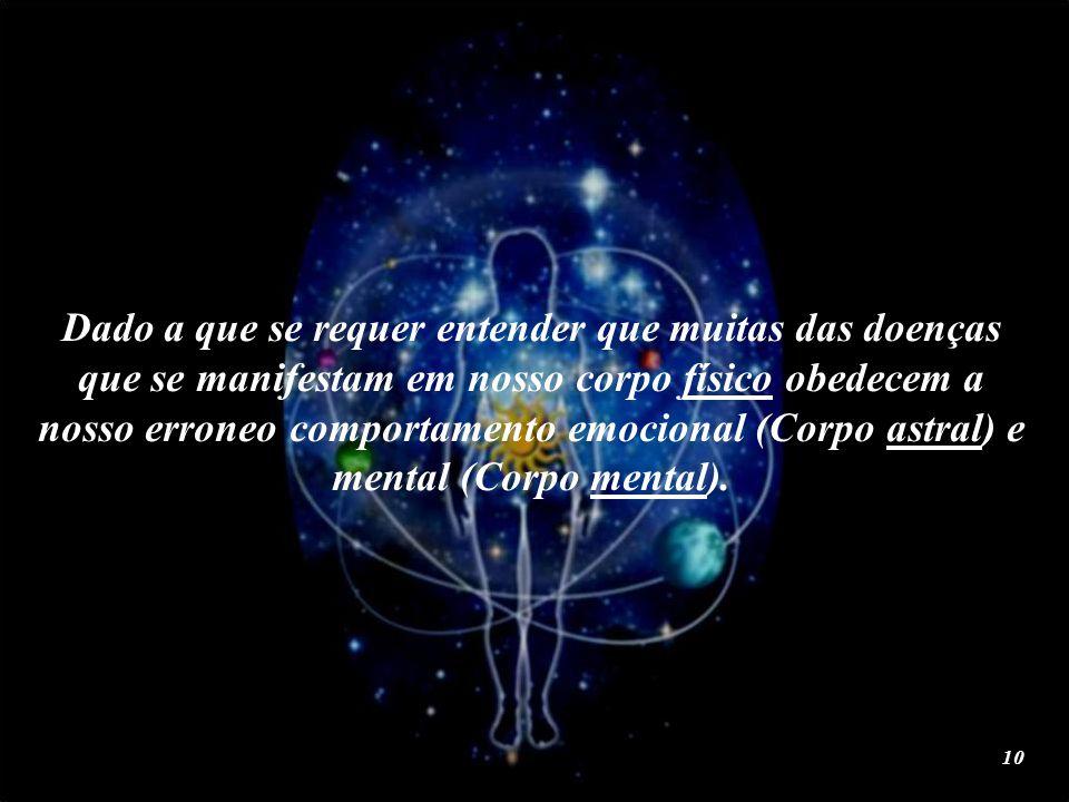 Dado a que se requer entender que muitas das doenças que se manifestam em nosso corpo físico obedecem a nosso erroneo comportamento emocional (Corpo astral) e mental (Corpo mental).