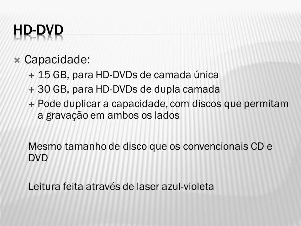 Hd-dvd Capacidade: 15 GB, para HD-DVDs de camada única