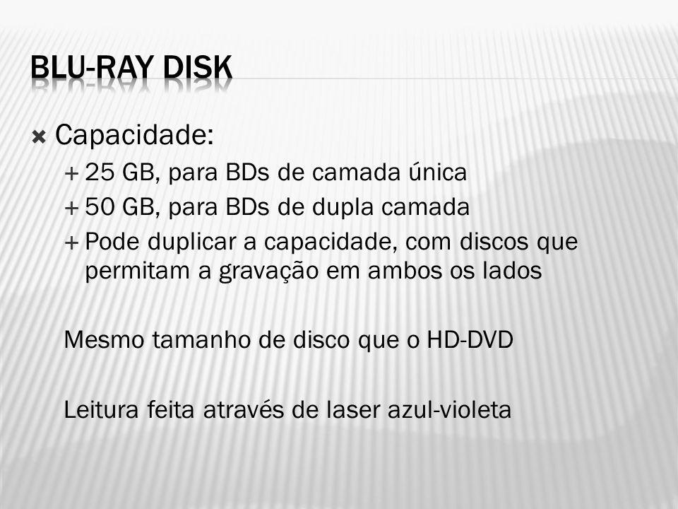 Blu-Ray disk Capacidade: 25 GB, para BDs de camada única