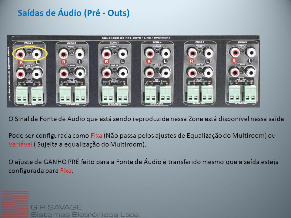 Saídas de Áudio (Pré - Outs)