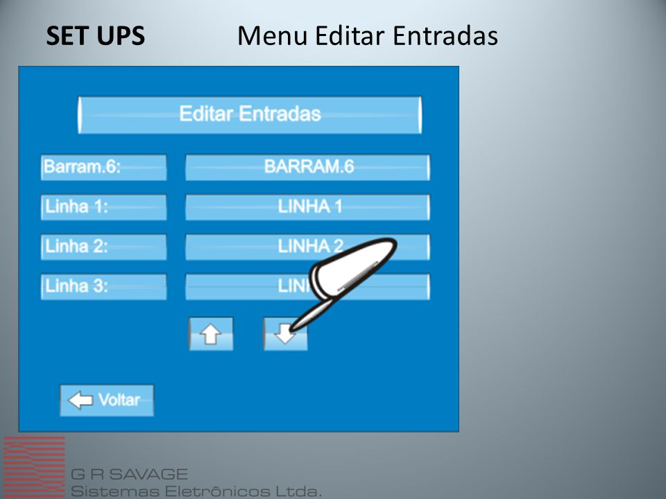 SET UPS Menu Editar Entradas