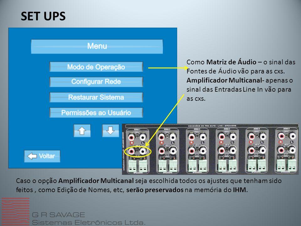 SET UPS Como Matriz de Áudio – o sinal das