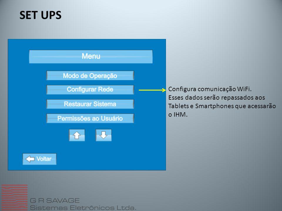 SET UPS Configura comunicação WiFi. Esses dados serão repassados aos