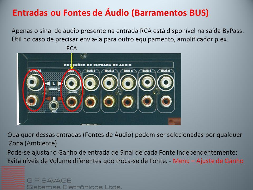 Entradas ou Fontes de Áudio (Barramentos BUS)