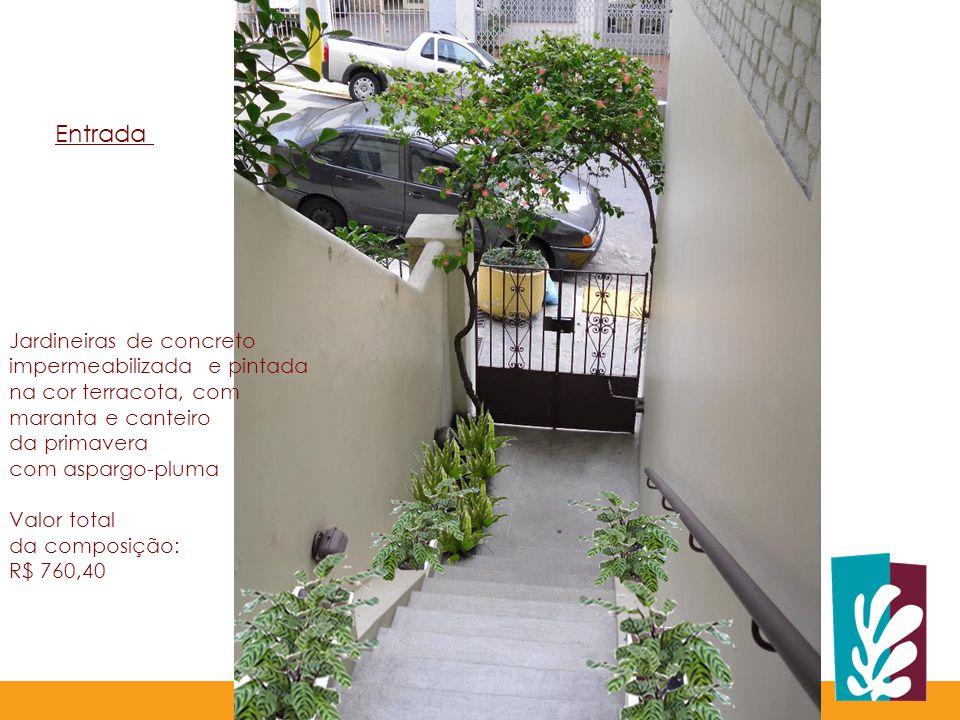 Entrada Jardineiras de concreto impermeabilizada e pintada