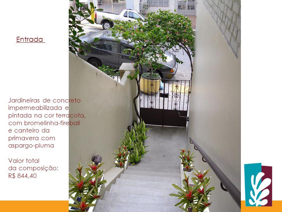 Entrada Jardineiras de concreto impermeabilizada e
