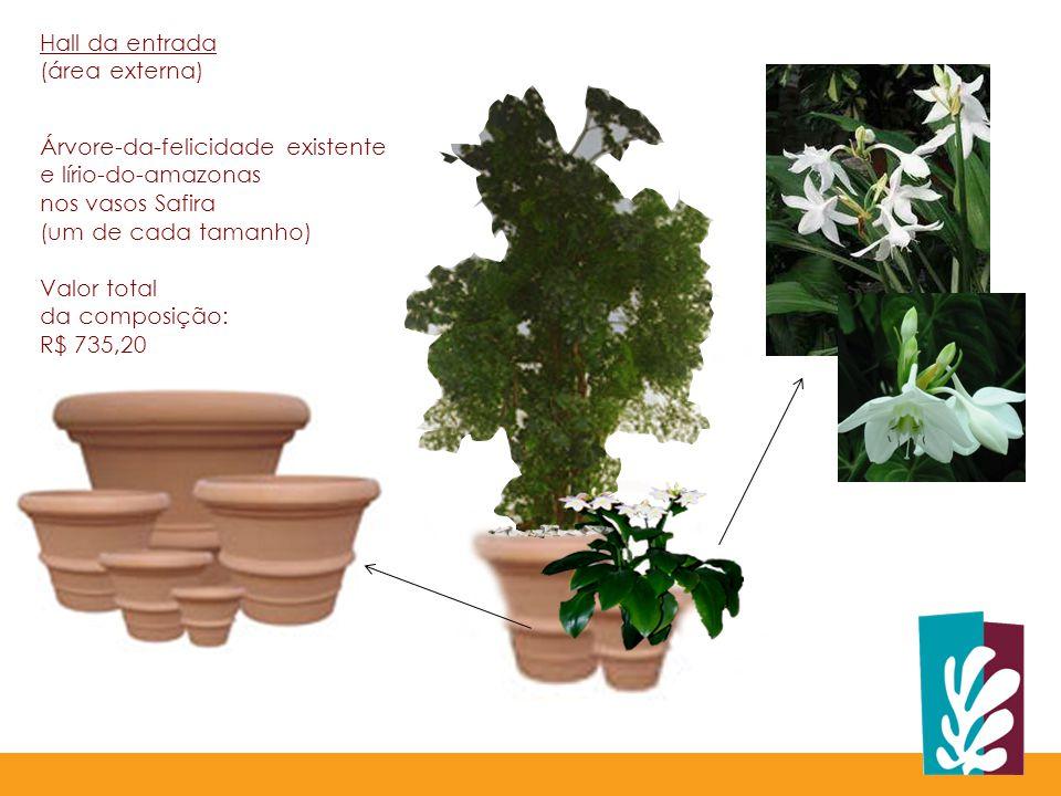 Hall da entrada (área externa) Árvore-da-felicidade existente e lírio-do-amazonas. nos vasos Safira.