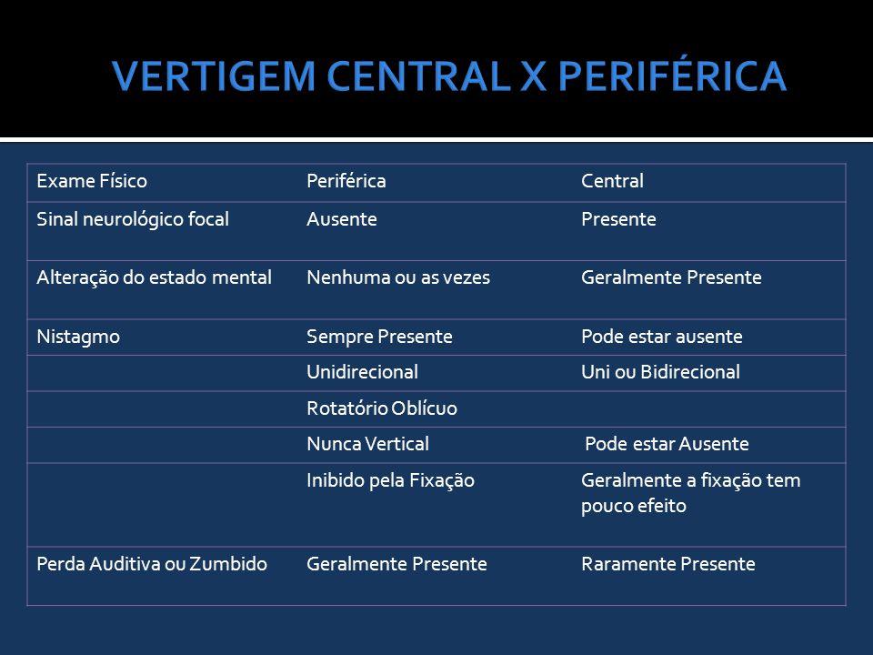 VERTIGEM CENTRAL X PERIFÉRICA