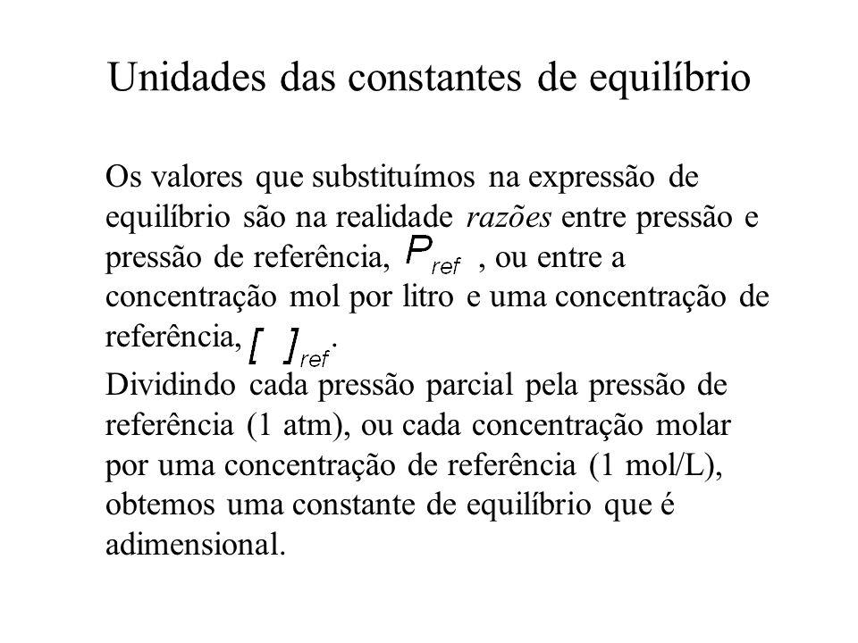 Unidades das constantes de equilíbrio