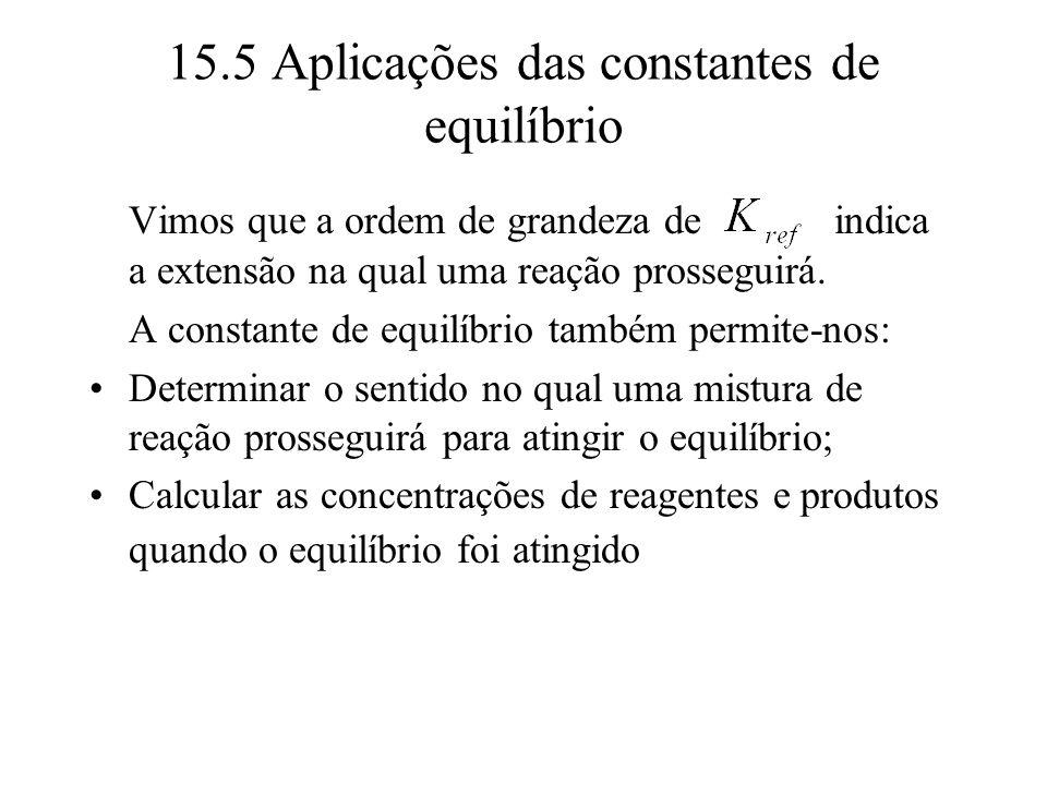 15.5 Aplicações das constantes de equilíbrio