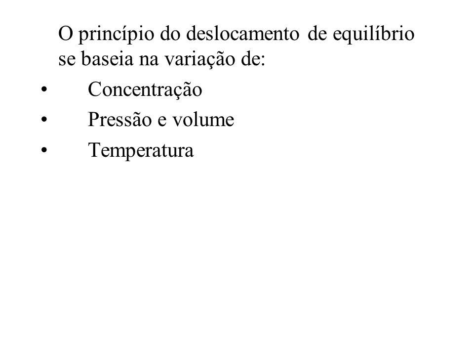 O princípio do deslocamento de equilíbrio se baseia na variação de: