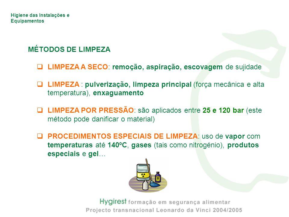 MÉTODOS DE LIMPEZA LIMPEZA A SECO: remoção, aspiração, escovagem de sujidade.