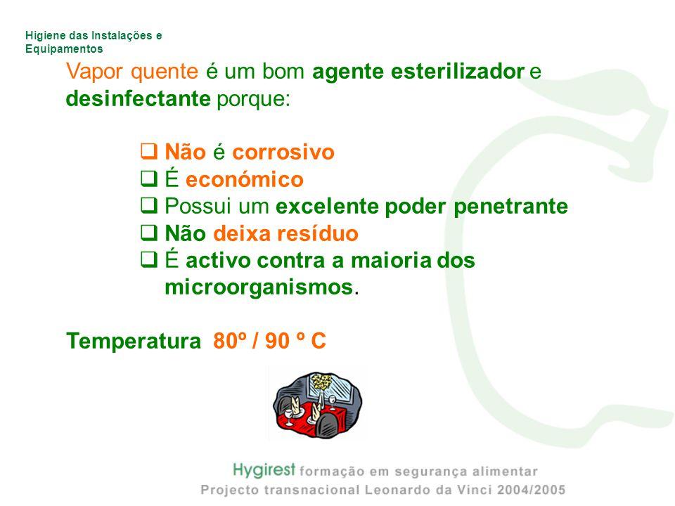 Vapor quente é um bom agente esterilizador e desinfectante porque: