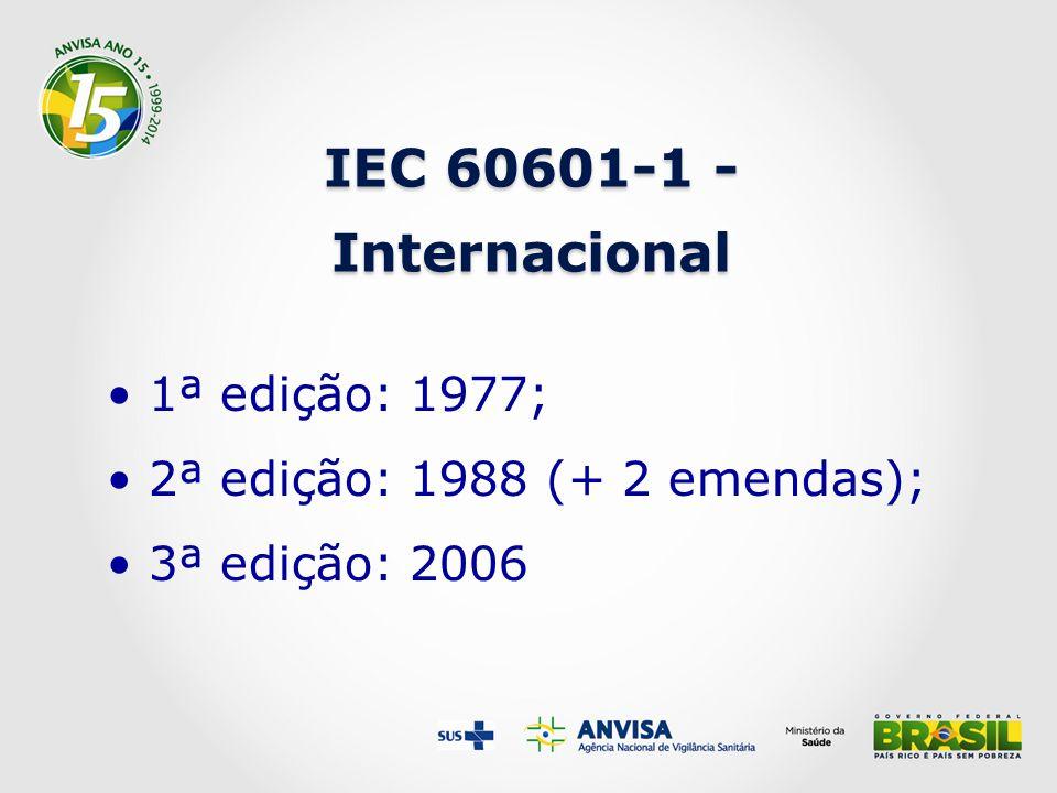 IEC 60601-1 - Internacional 1ª edição: 1977;