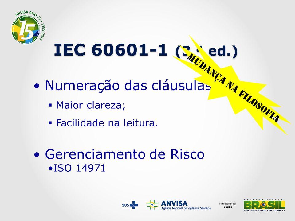 IEC 60601-1 (3 ª ed.) Numeração das cláusulas Gerenciamento de Risco